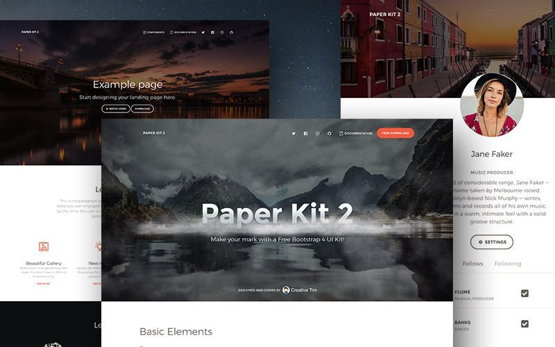 Paper Kit 2: A Free Bootstrap 4 UI Kit