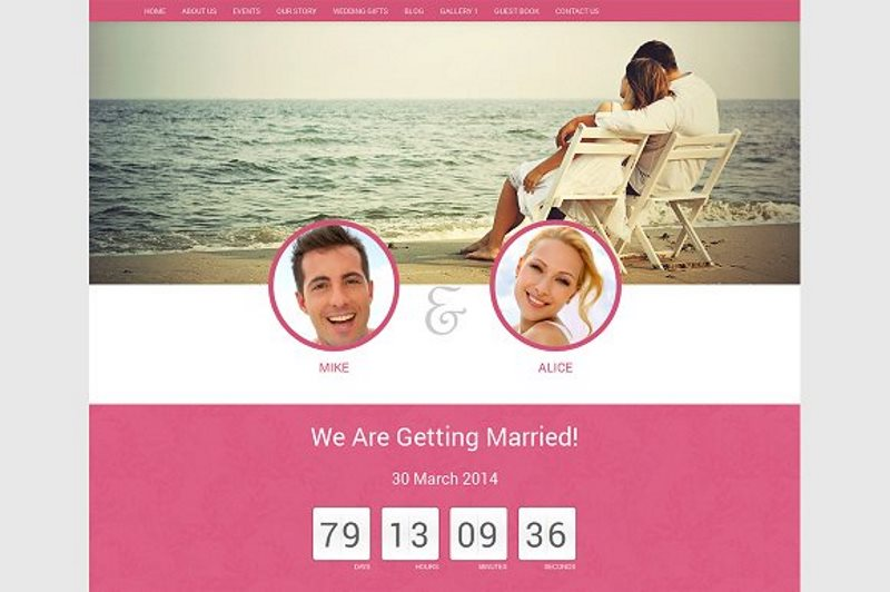 wedding website template html