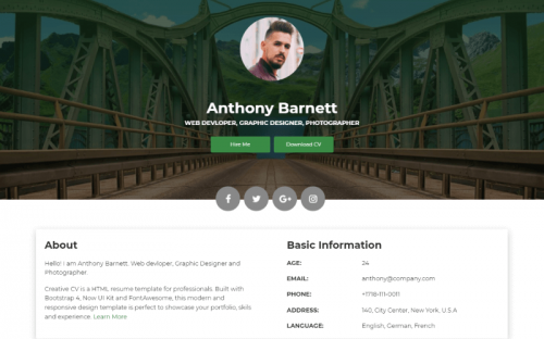 Creative CV: A Free Creative Resume Website Template