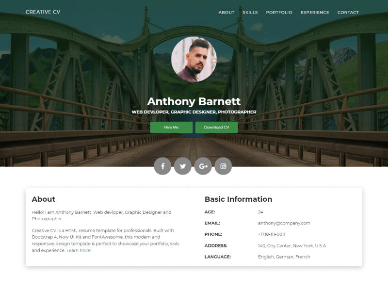 creative cv  a free creative resume website template