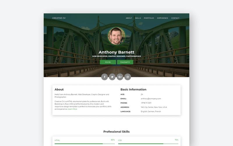 Creative CV: A Free Creative Resume Website Template