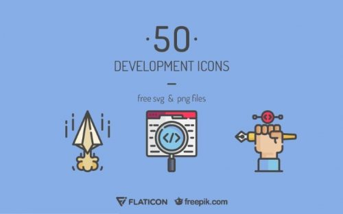 50 Free Development Related Icons (Flat, Lineal & Outline)