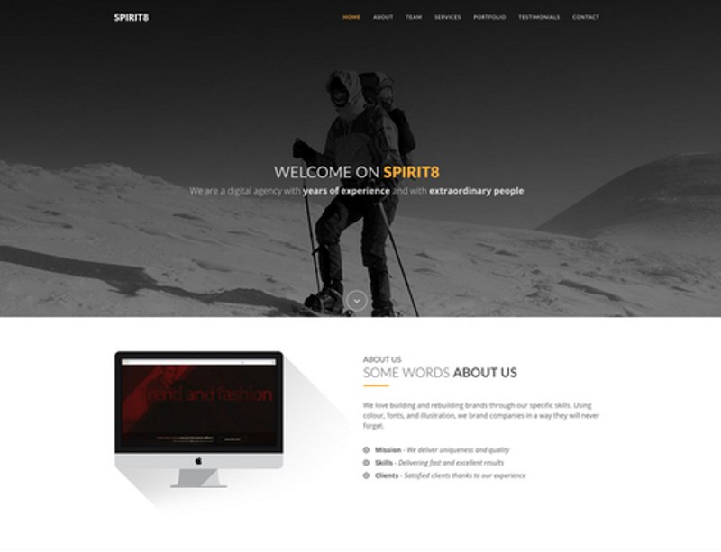 10 spirit8 service agency responsive bootstrap template