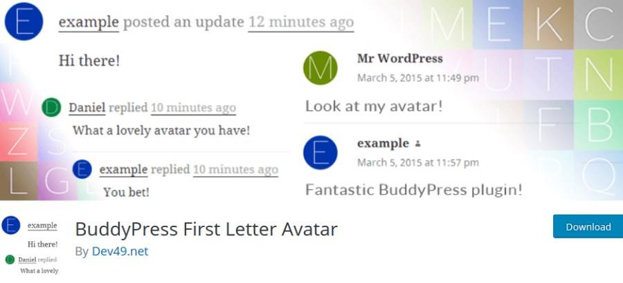BuddyPress First Letter Avatar
