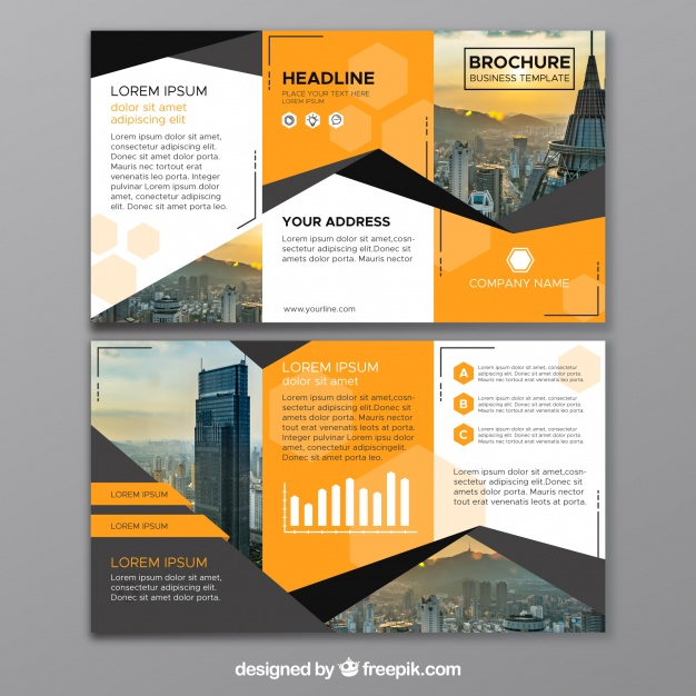 abstract business trifold vector