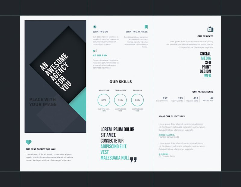 agency tri-fold brochure template psd