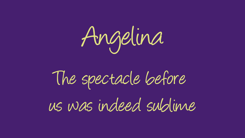 angelina free handwriting font