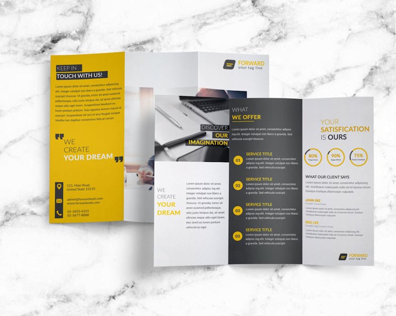 25 tri fold brochure templates psd ai indd free for Two fold brochure templates free download