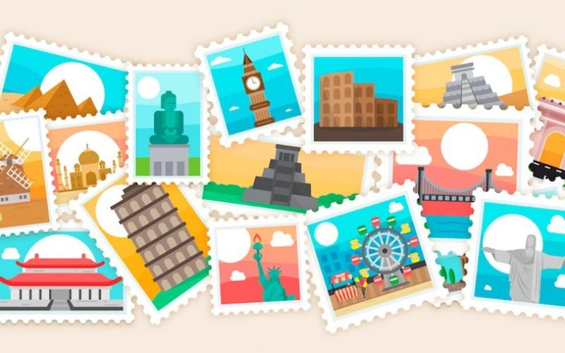 Free Travel Postcards and Stamps Vector – AI, EPS & JPG