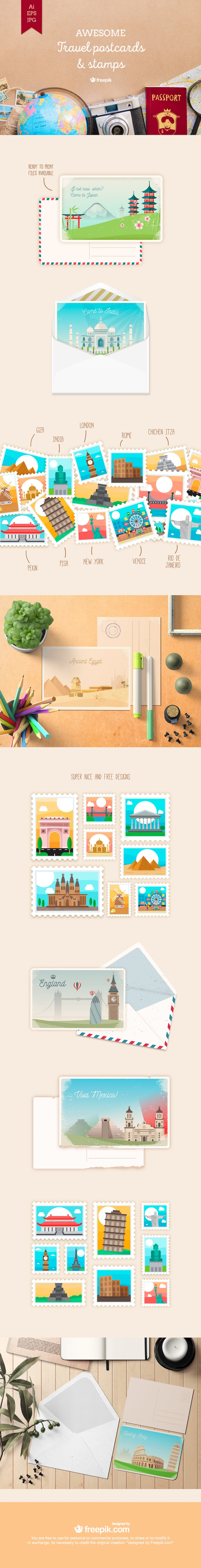 free travel postcards stamps vector
