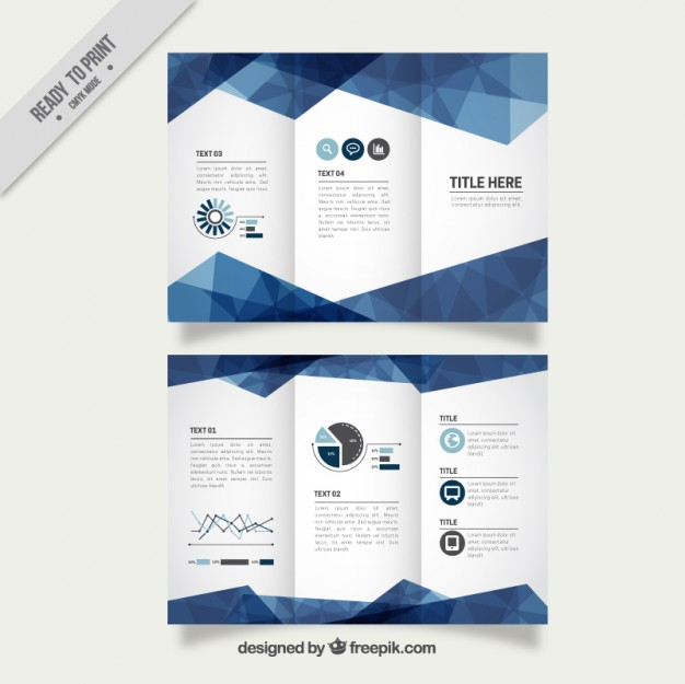 geometric blue business trifold