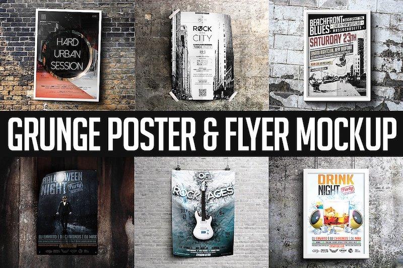 grunge poster mockups