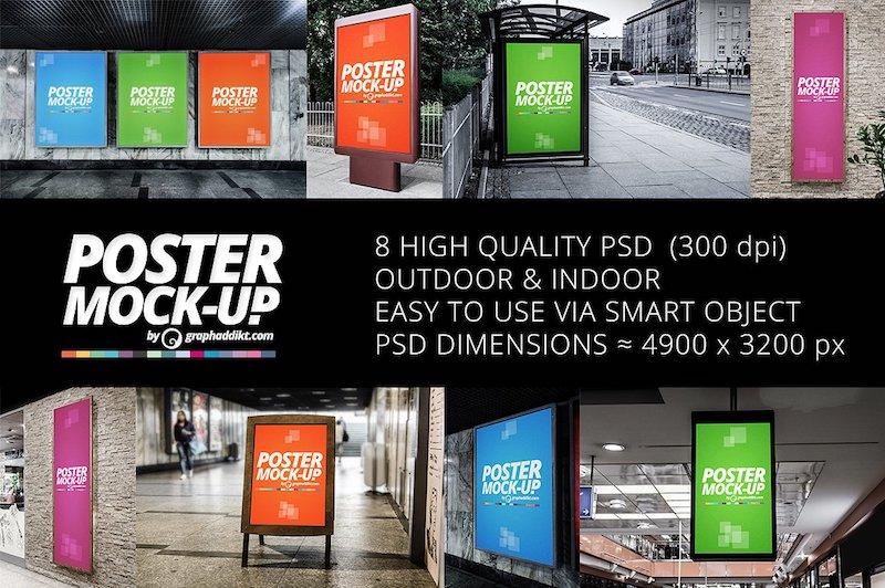 indoor outdoor poster mockups