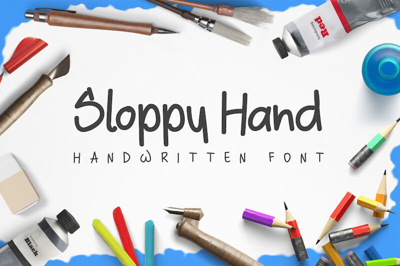sloppy hand handwritten font
