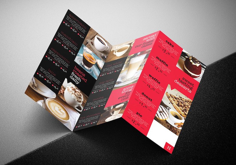 tri fold cafe menu template