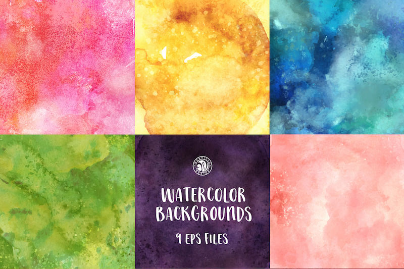 9 watercolor backgrounds eps