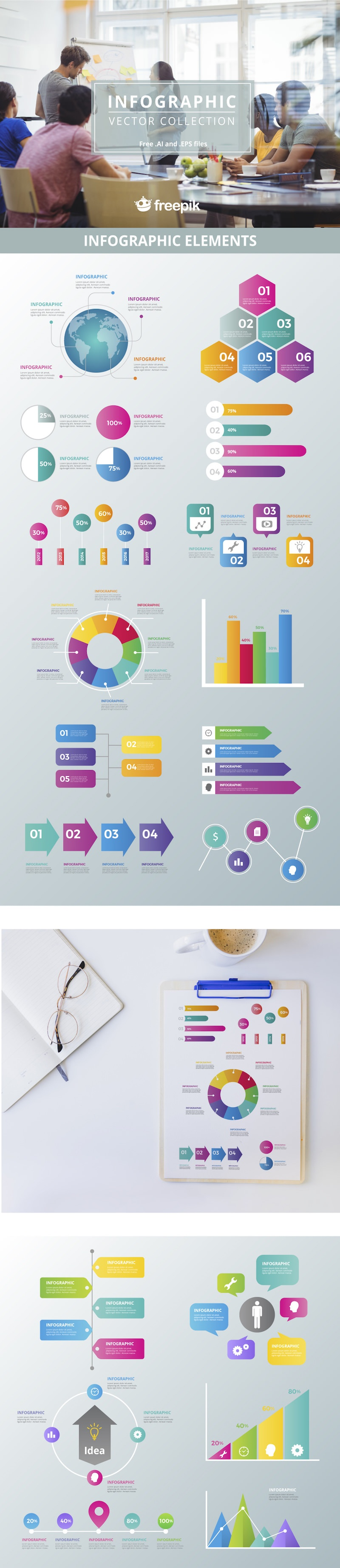 colorful infographic elements vector collection