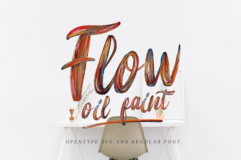 flow oil paint font