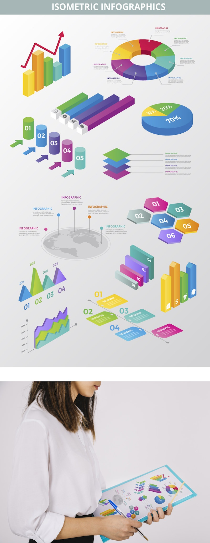 isometric infographic elements