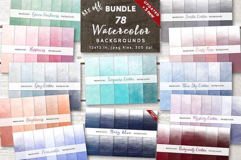 ombre watercolor bundle