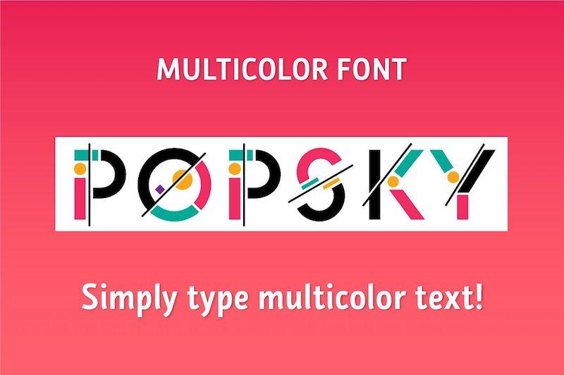 popsky multicolor display font