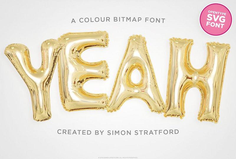 yeah foil balloon color font