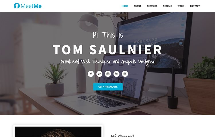 MeetMe Free Resume Website Template