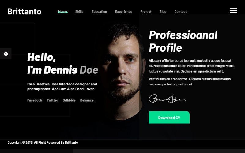 Brittanto Personal Portfolio HTML5 Template
