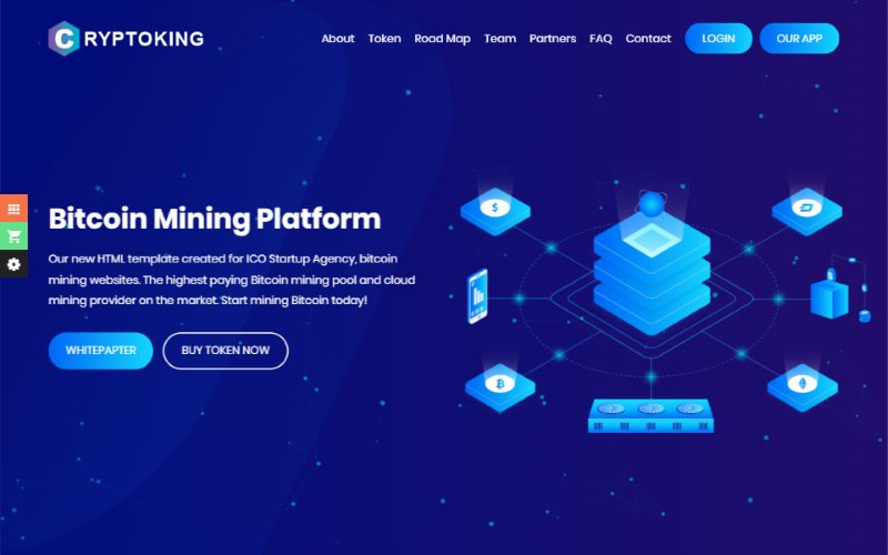 Cryptoking Bitcoin ICO Cryptocurrency Landing Page HTML Template