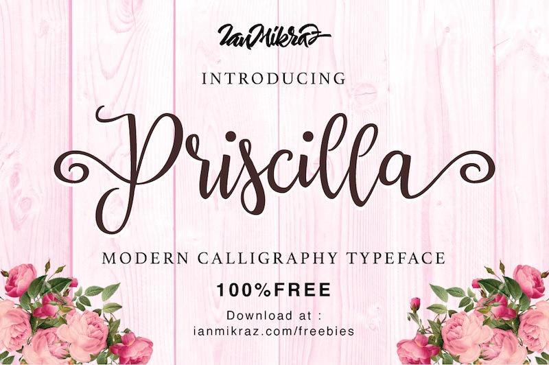 priscilla calligraphy script font