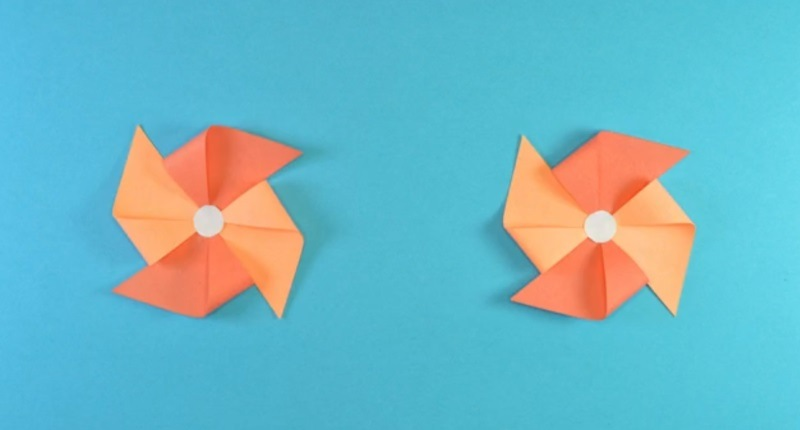 Stop Motion Pinwheels On Blue Background
