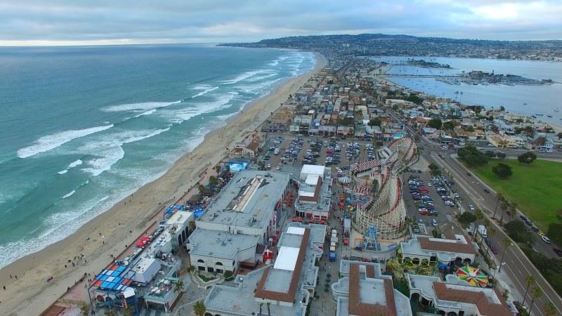 Coastline Beach City Sunset Video Footage