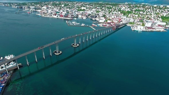 Bridge of City Tromso Norway