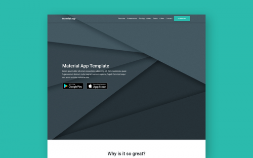 Free Material Design App Landing Page Template built with Bootstrap