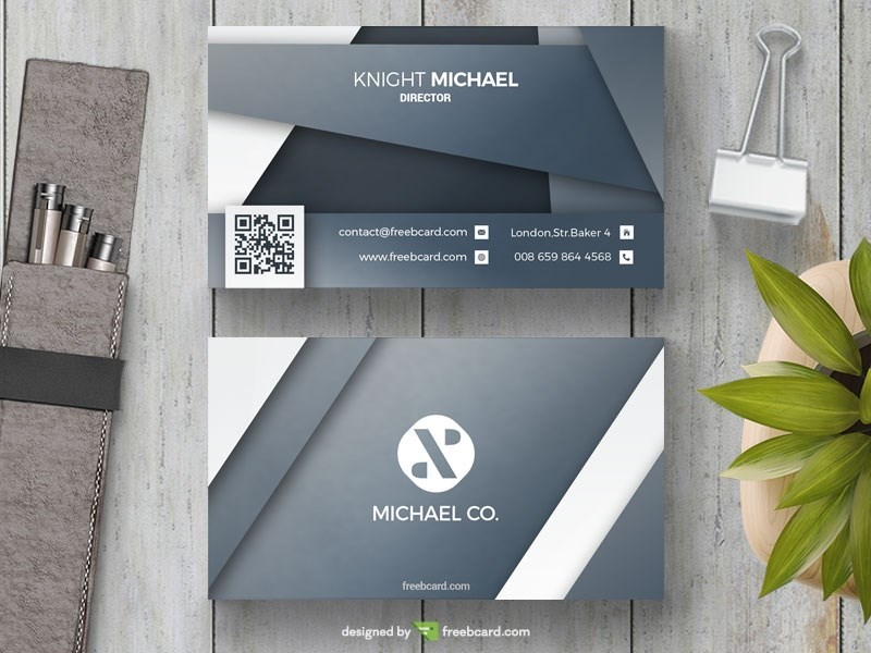 Grey Abstract Business Card Template