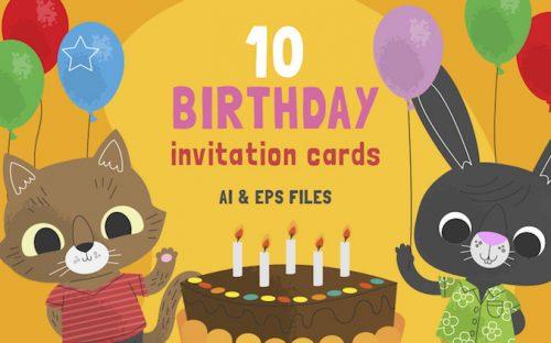 10 Free Cute Birthday Invitation Cards – AI & EPS
