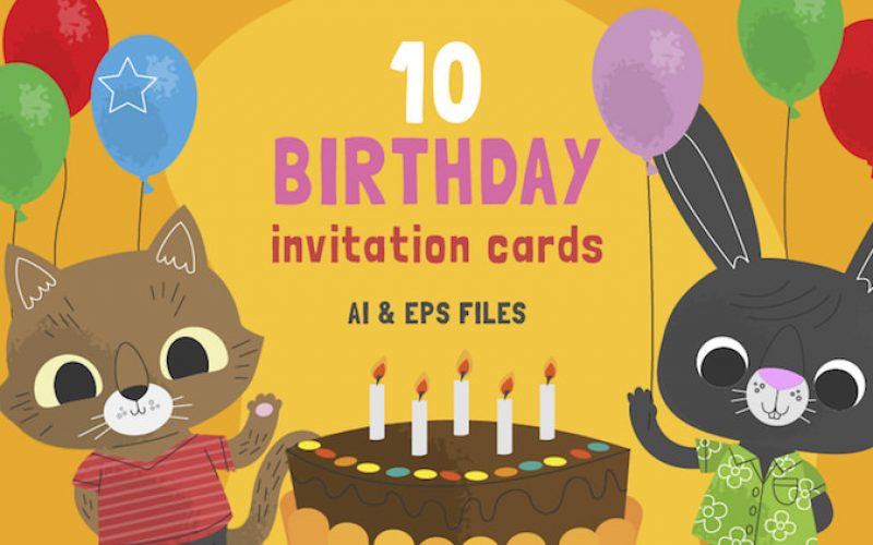 10 Free Cute Birthday Invitation Cards – AI & EPS