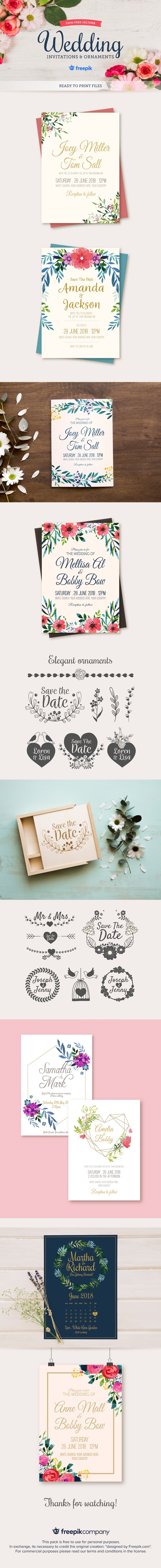 free wedding invitations ornaments vectors