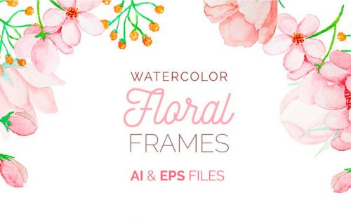 Free Watercolor Floral Frames – AI & EPS Download
