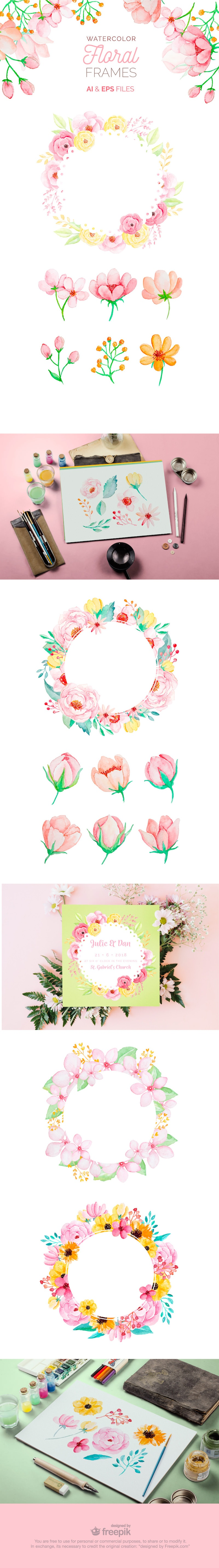 free watercolor floral frames vectors