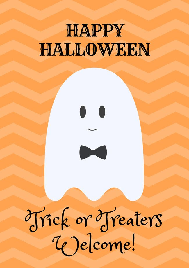 trick or treaters welcome poster