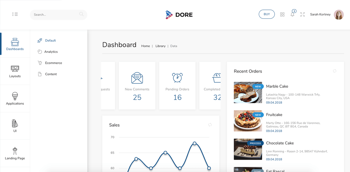 dore admin template and landing page