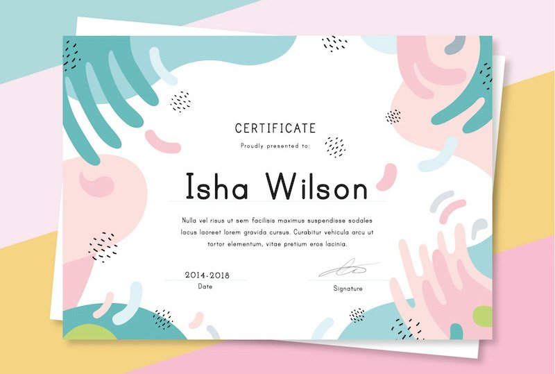 10 Free Colorful Certificate Templates - AI & EPS - Super Dev Resources
