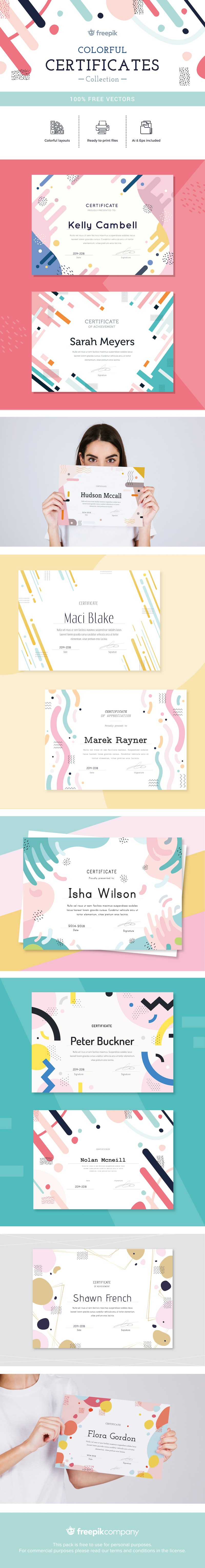 free colorful certificate vector templates