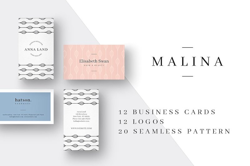 malina business cards logos pack