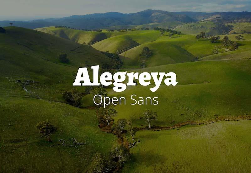 alegreya with open sans font
