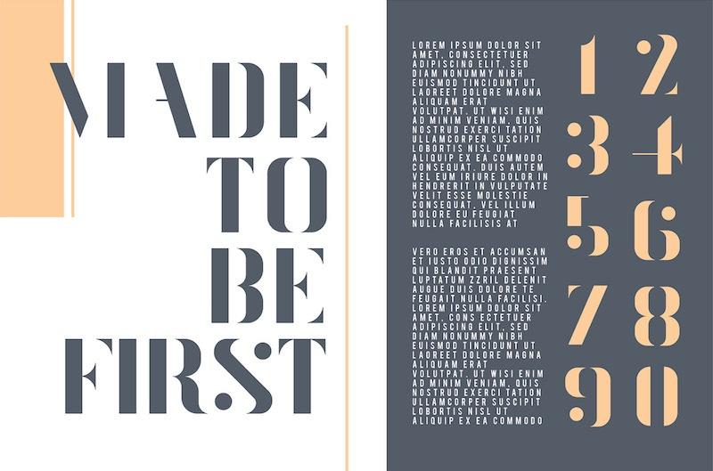 flare free elegant stencil typeface