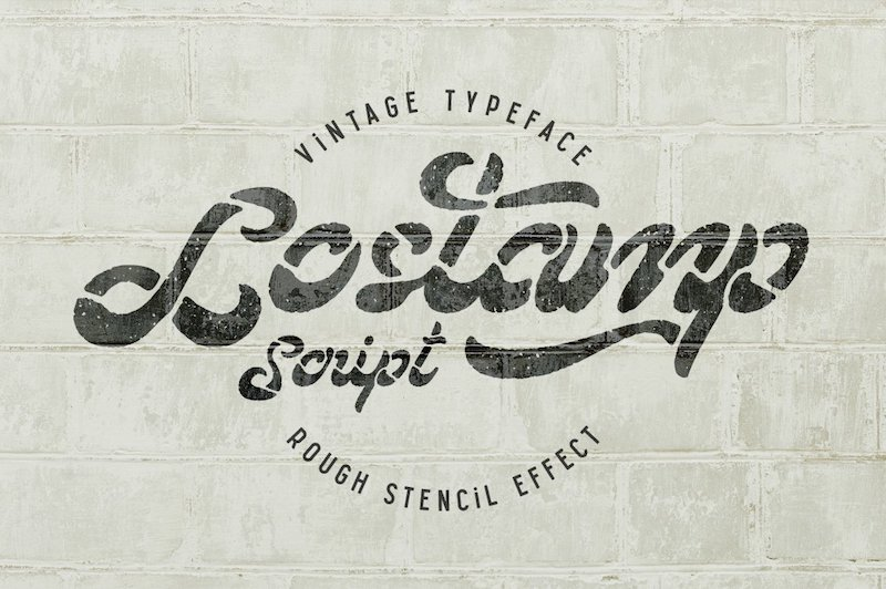 lostamp stencil script font
