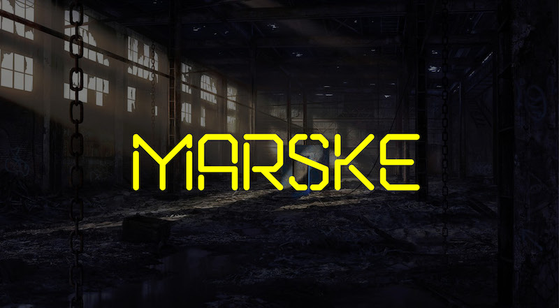 marske free stencil display font