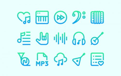 50 Free Gradient Music Icons – SVG & PNG